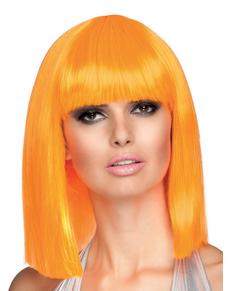 Perruque dance orange néon femme